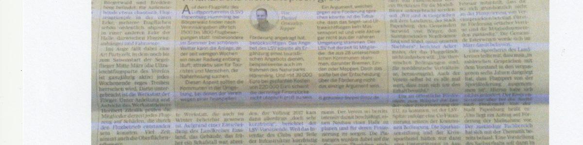 Ems-Zeitung berichtet über uns – Partyzelt als Werkstatt